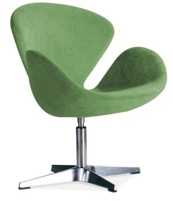 Swan Style Chair Green Fabric