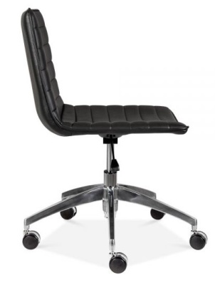 Deco Black Pu Leather Swivel Chair Side View