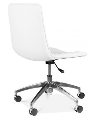 Sdeco White Pu Leather Chair Rear Angle