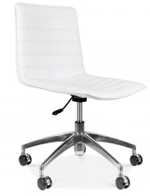 Deco White Pu Leather Chair Front Angle
