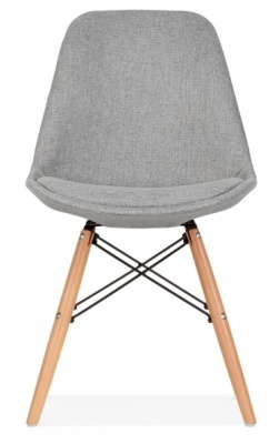 Eames Inspired DSW Chair Grey Upholstery Front View