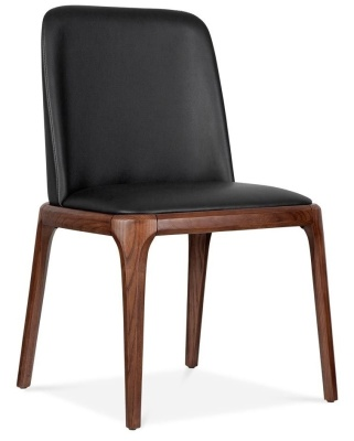 Luxo Black Leather Dining Chair Front Angle