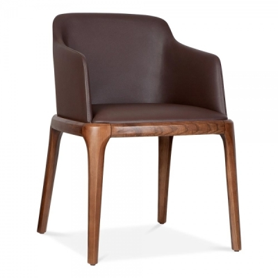 Luxo Brown Leather Dining Arm Chair