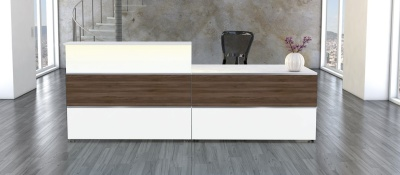Ahtlanta Walnt & White Reception Desk
