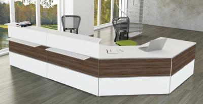 Atlanta White & Walnut Reception Desk No 6