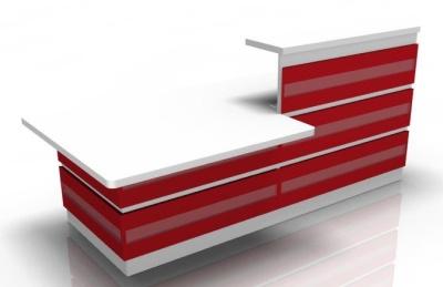 Visage Reception Desk 2 With Red Cladding