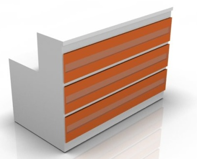 Visaghe Straight Reception Desk With Orange Fronts