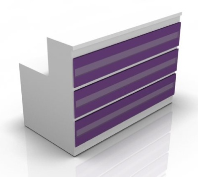 Visage Straight Reception Desk With Purple Fronts