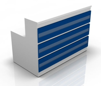 Visage Straight Reception Desks Win Blue Fronts
