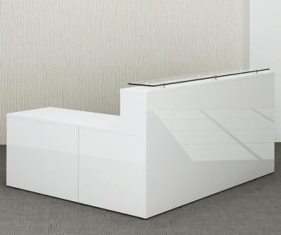Polar Gloss White Reception Desk And Return