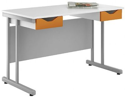 Uclic Double Drawer Desk With Orange Fronts