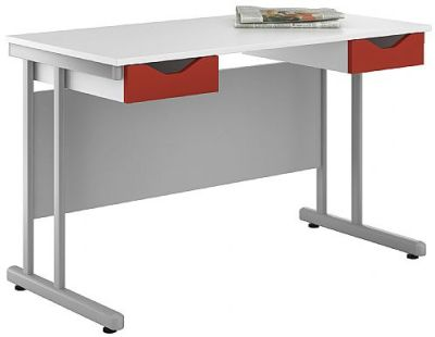 Uclic Double Drawer Desk With Red Fronts
