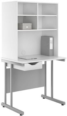 Uclic Desk And Storage Hutch With A Single Drawer White Front