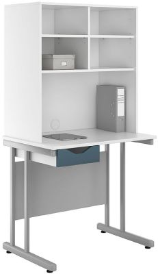 UCLIC Desk And Open Storage Huch With A Steel Blue Drawer Front