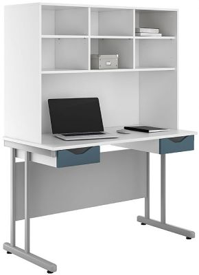 UCLIC Double Drawer Desk With Steel Blue Drawer Fronts And Overhead Hutch