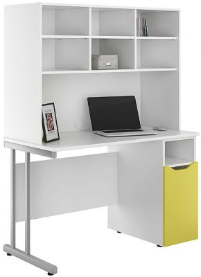 UCLIC Desk With Cupboard And Storage Hutch Peach Door