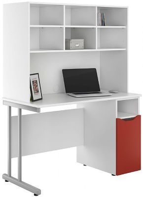 UCLIC Desk With A Cupboard With A Red Door And Overhead Storage Hutch