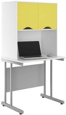 Uclic Desk With Overhead Cupboard With Peach Doors