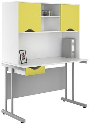 UCLIC Desk And Overhead Cupboard And Drawer Peach Yellow Fronts