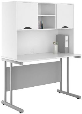 UClic 1200mm Desk And Drawer With An Overhead Cupboard With White Fronts