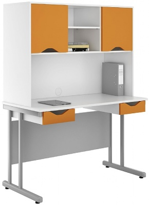 Uclic Double Drawer Desk With Orange Drawer And Door Fronts