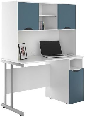 Uclic Desks With Cupboard Doors In Steel Blue