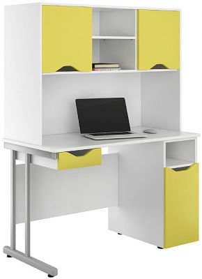 Uclic Desk Cupboards And Darwer In Peach Yelllow