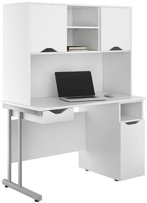Uclic Desk With Cupboard And Drawer With White Front