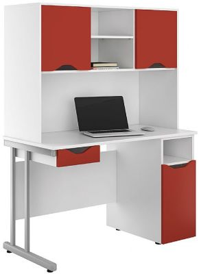Uclic Desk With Drawer And Cupboard Doors In Red