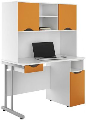 Uclic Desk With Doors And Drawer In Orange