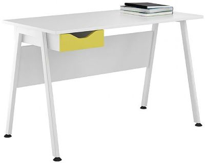Aspire Single Desk With A Peach Yellow Drawer Front