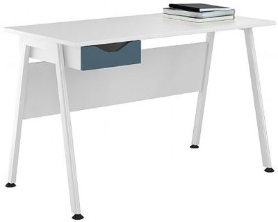 Apire Desk Wit A Stel Blue Drawer Front