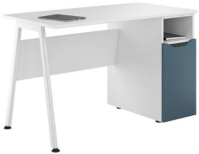 Uclic Inspire Desk With A Steel Blue Door
