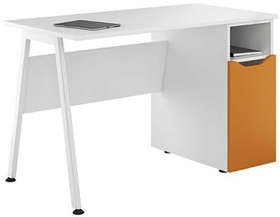 Uclic Inspire Desk With An Orange Door