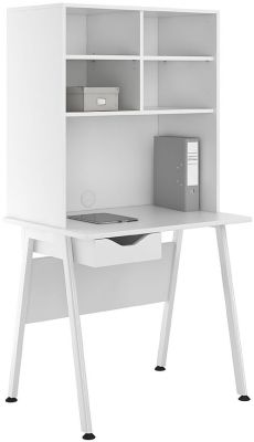 Uclic Aspire Desk With Open Hutch And White Drawer Front
