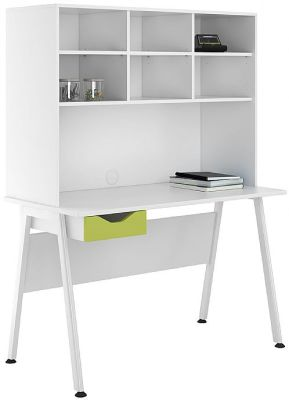 UCLIC Aspire 1200mm Desk With Open Hutch And Lime Green Front