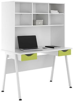Uclic Aspire Desk With Overhead Storage And Two Drawers With Lime Green Fronts