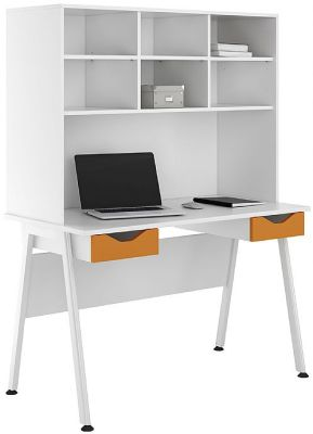 UCLIC Aspire Desk With Orange Drawer Fronts And Overhead Storage Hutch