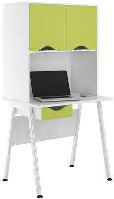 UCLIC Aspire Desk With Lime Green Doors And Darwer