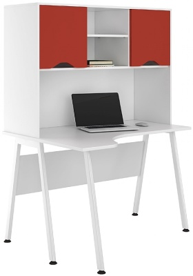 UCLIC Aspire Corner Desk With Red Doors