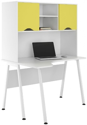 UCLIC Aspire Corner Desk With Peach Yellow Doors
