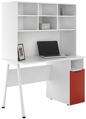 UCLIC Aspire Cupboard Desk With A Red Door And Open Hutch