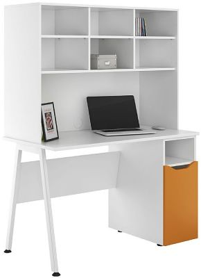 UCLIC Aspire Desk With An Orange Door And Open Hutch