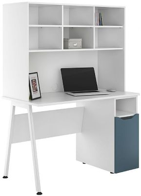 UCLIC Aspire Desk With A Steel Buue Door And An Open Hutch