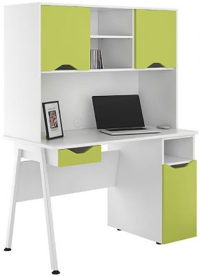 UCLIC Aspire Desk With Closed Hutch And Drawer In Lime