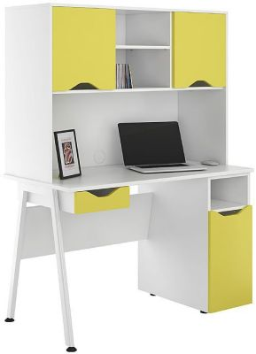 UCLIC Aspire Cupboard Desk With Ywllow Drawer And Doors