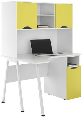 UCLIC Aspire Corner Cupboard Desk With Closed Hut Yellow Doors