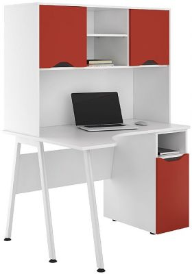 UCLIC Aspire Corner Desk With Cupboard And Cloded Hutch With Red Doors