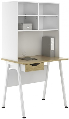 Aspire 800mm Desk With Overhead Storage And Single Drawer