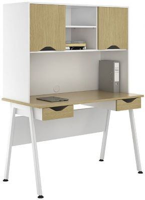 Sylvan Aspire Double Drawer Ddesk And Overhead Storage 1